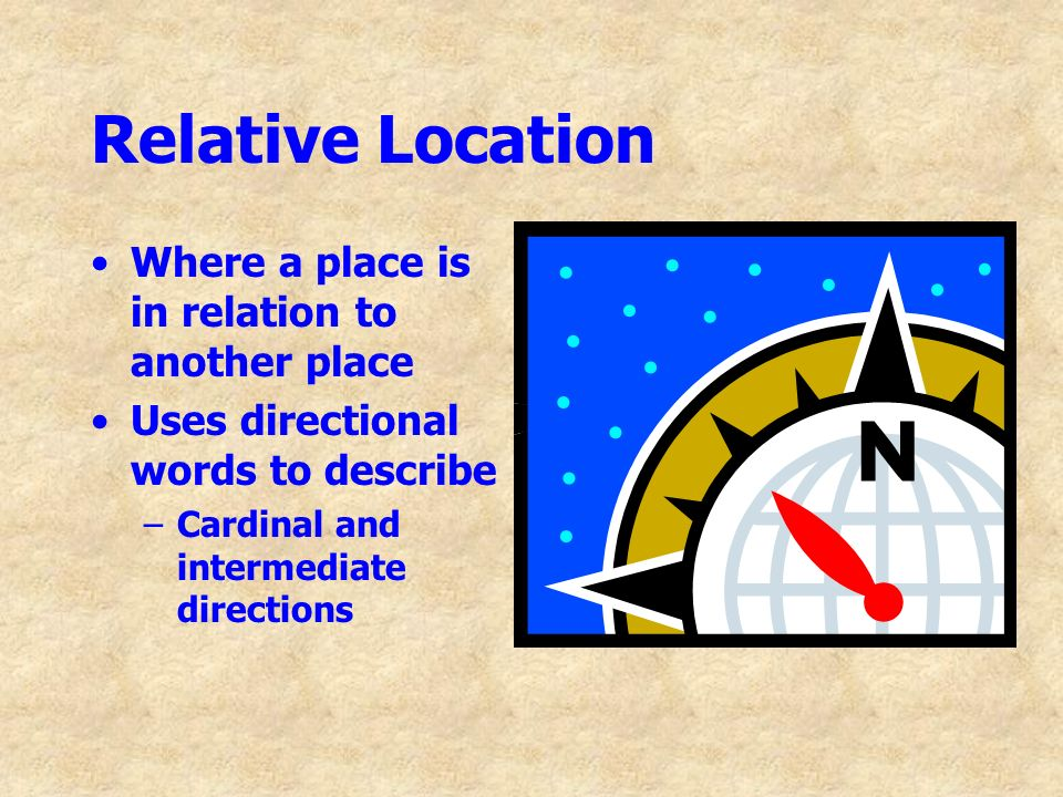 Relative Location Where a place is in relation to another place Uses directional words to describe –Cardinal and intermediate directions