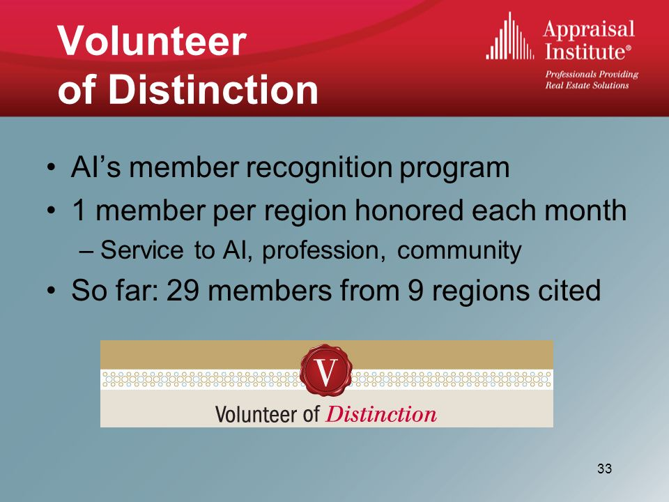 Volunteer of Distinction AIs member recognition program 1 member per region honored each month –Service to AI, profession, community So far: 29 members from 9 regions cited 33