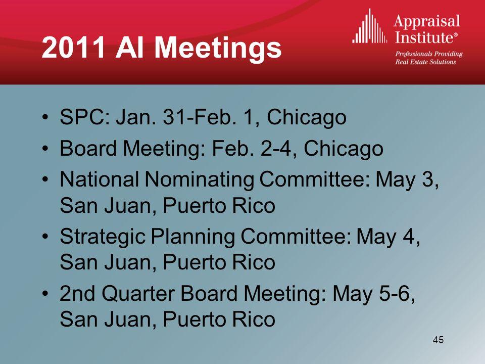 2011 AI Meetings SPC: Jan. 31-Feb. 1, Chicago Board Meeting: Feb.