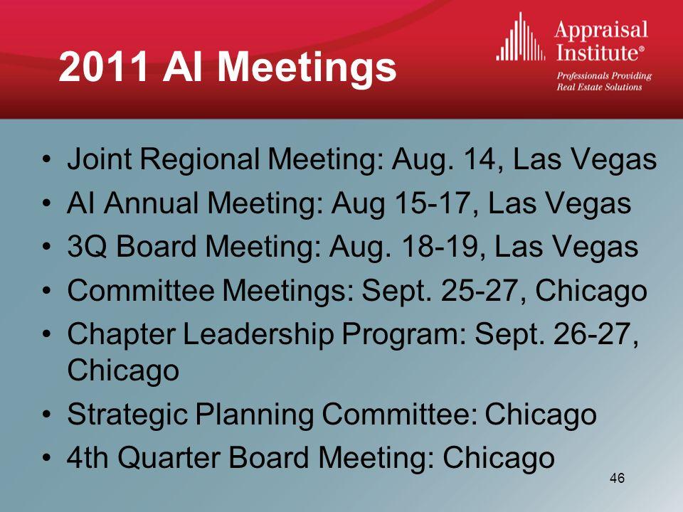 2011 AI Meetings Joint Regional Meeting: Aug.