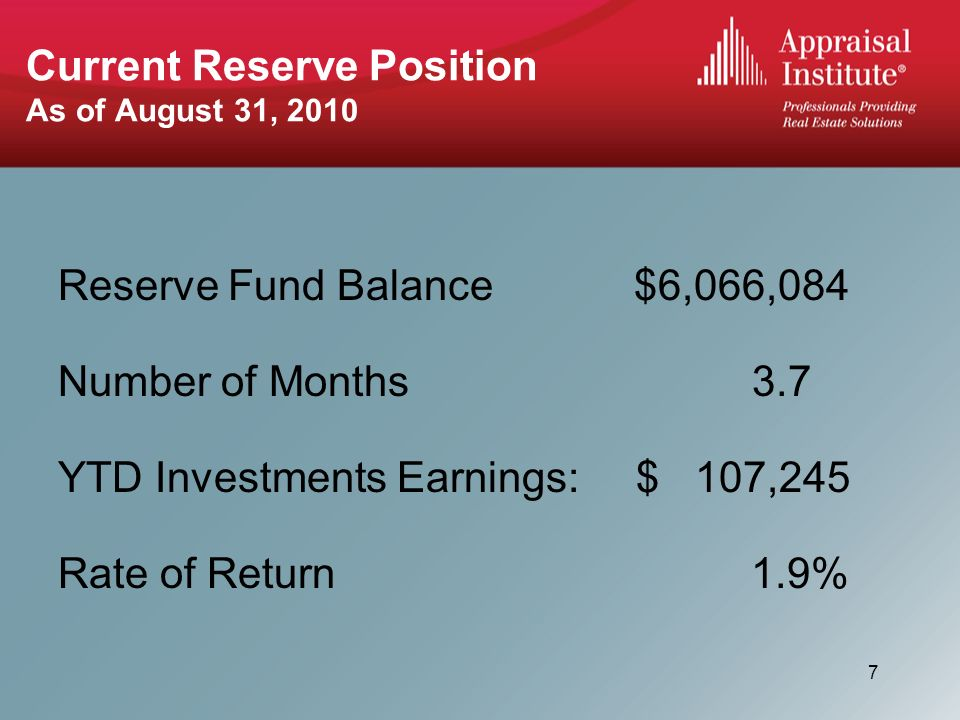 Current Reserve Position As of August 31, 2010 Reserve Fund Balance$6,066,084 Number of Months 3.7 YTD Investments Earnings: $ 107,245 Rate of Return 1.9% 7