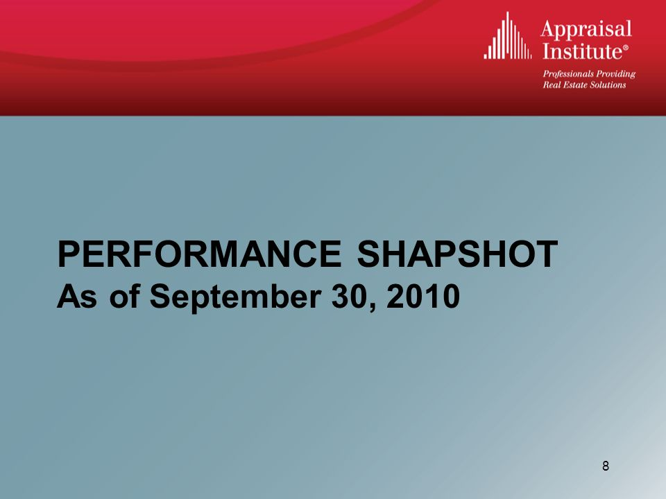 PERFORMANCE SHAPSHOT As of September 30,