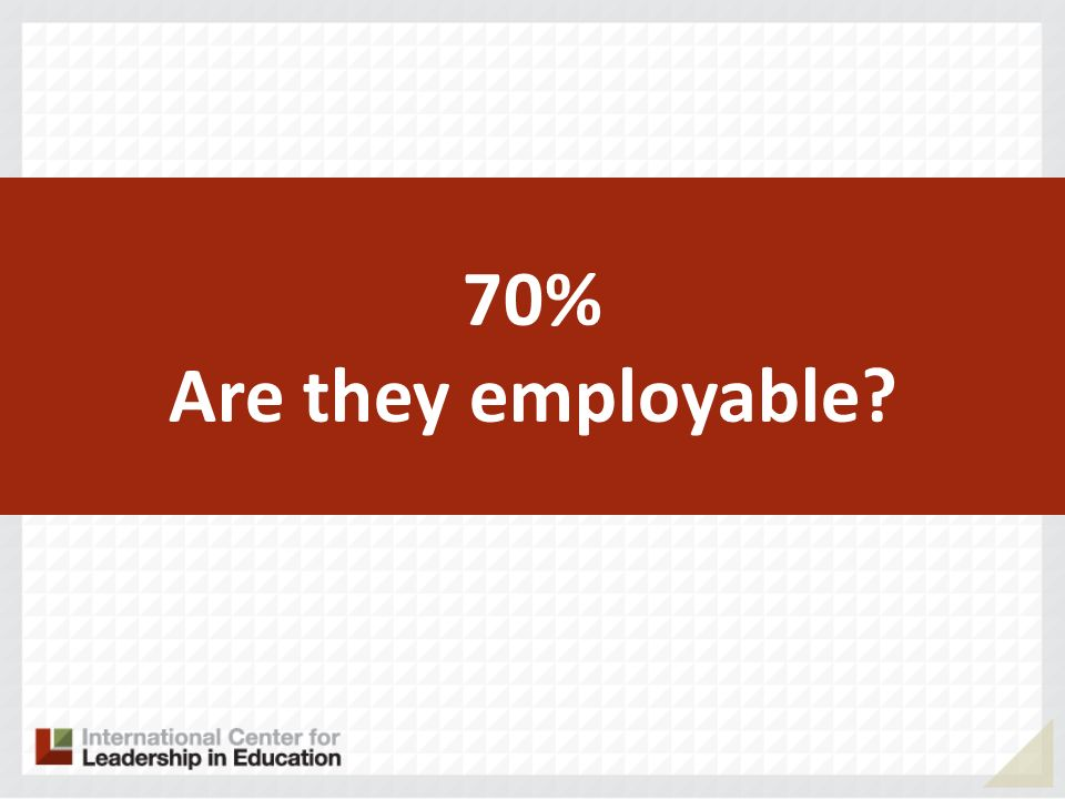70% Are they employable?