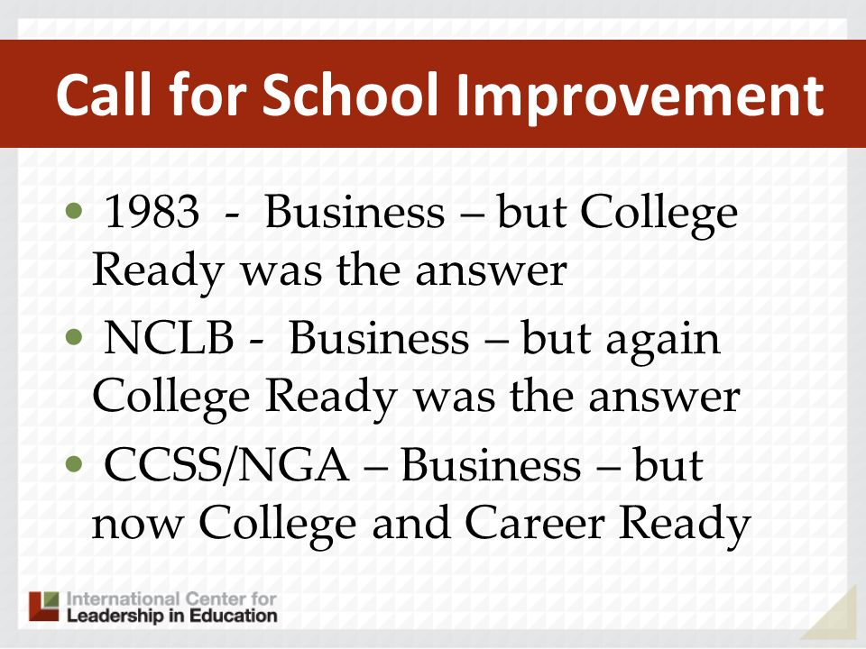 Call for School Improvement 1983 - Business – but College Ready was the answer NCLB - Business – but again College Ready was the answer CCSS/NGA – Business – but now College and Career Ready