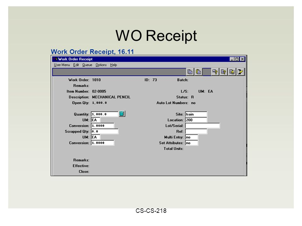 CS-CS-218 Work Order Receipt, 16.11 WO Receipt