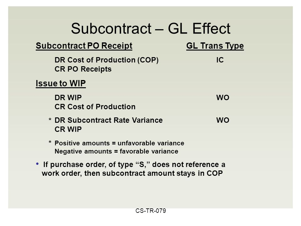 CS-TR-079 Subcontract PO ReceiptGL Trans Type DR Cost of Production (COP)IC CR PO Receipts Issue to WIP DR WIPWO CR Cost of Production DR Subcontract Rate VarianceWO CR WIP Positive amounts = unfavorable variance Negative amounts = favorable variance If purchase order, of type S, does not reference a work order, then subcontract amount stays in COP Subcontract – GL Effect * *