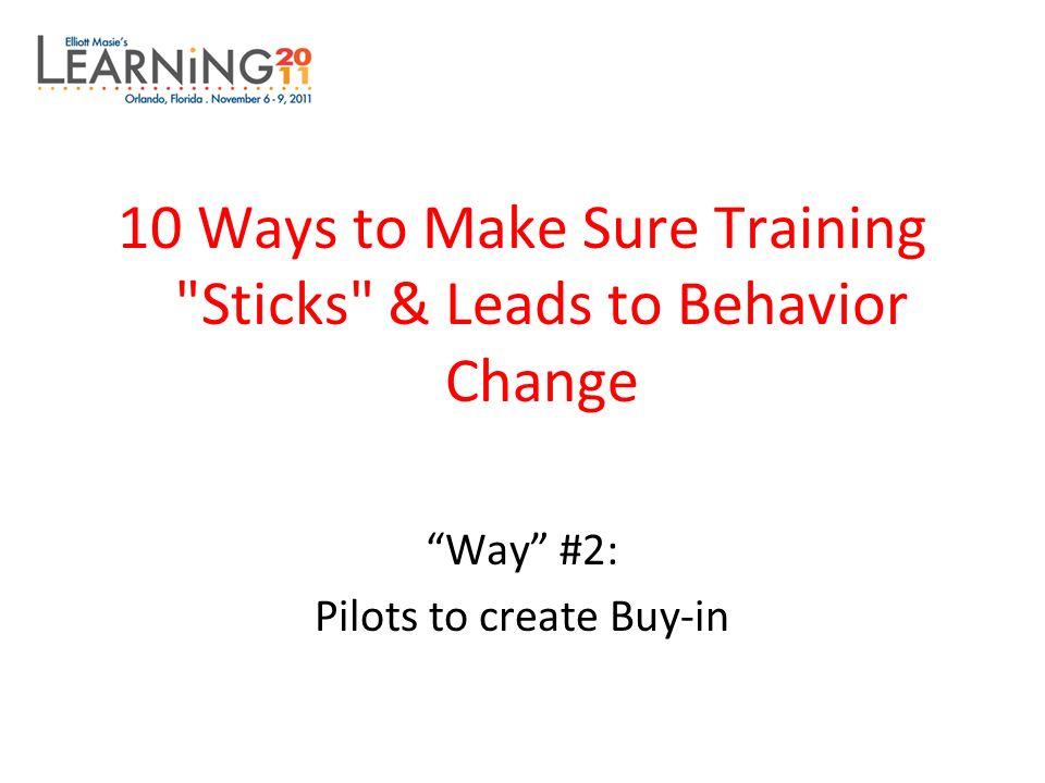 10 Ways to Make Sure Training