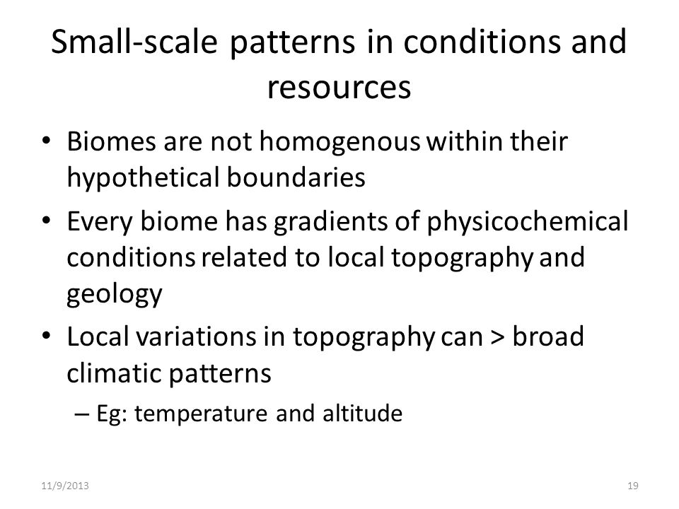 Small-scale patterns in conditions and resources Biomes are not homogenous within their hypothetical boundaries Every biome has gradients of physicoch