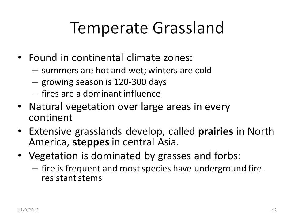 Found in continental climate zones: – summers are hot and wet; winters are cold – growing season is 120-300 days – fires are a dominant influence Natu