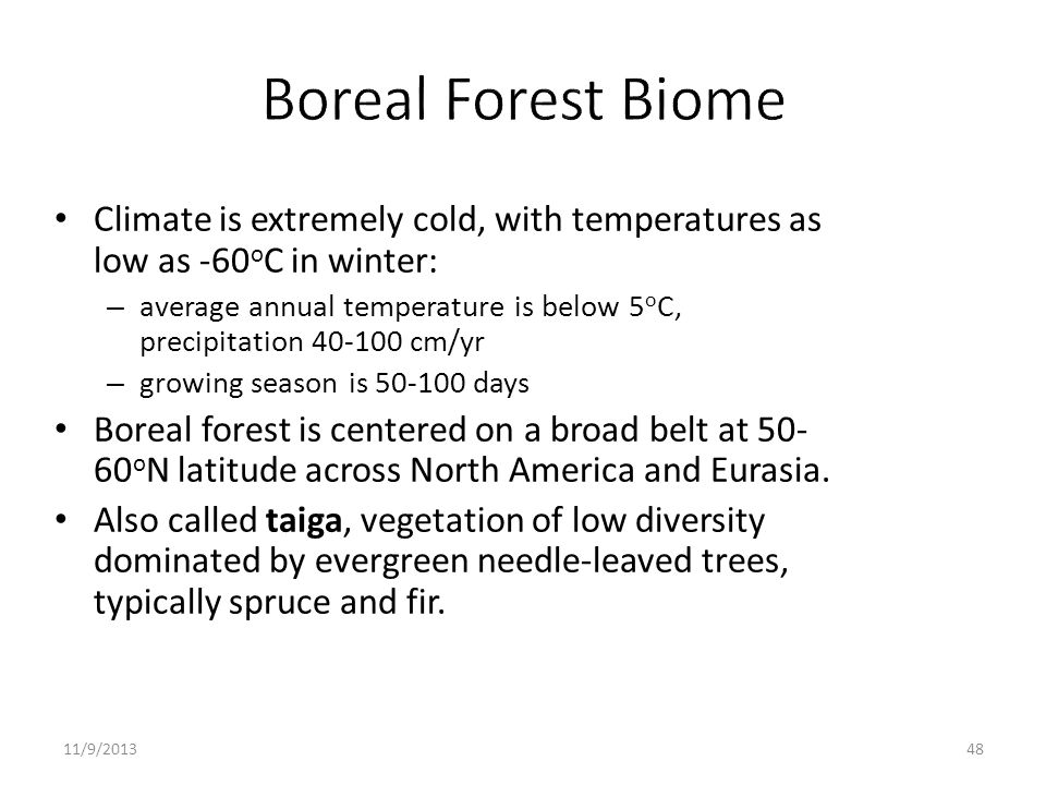 Climate is extremely cold, with temperatures as low as -60 o C in winter: – average annual temperature is below 5 o C, precipitation 40-100 cm/yr – gr