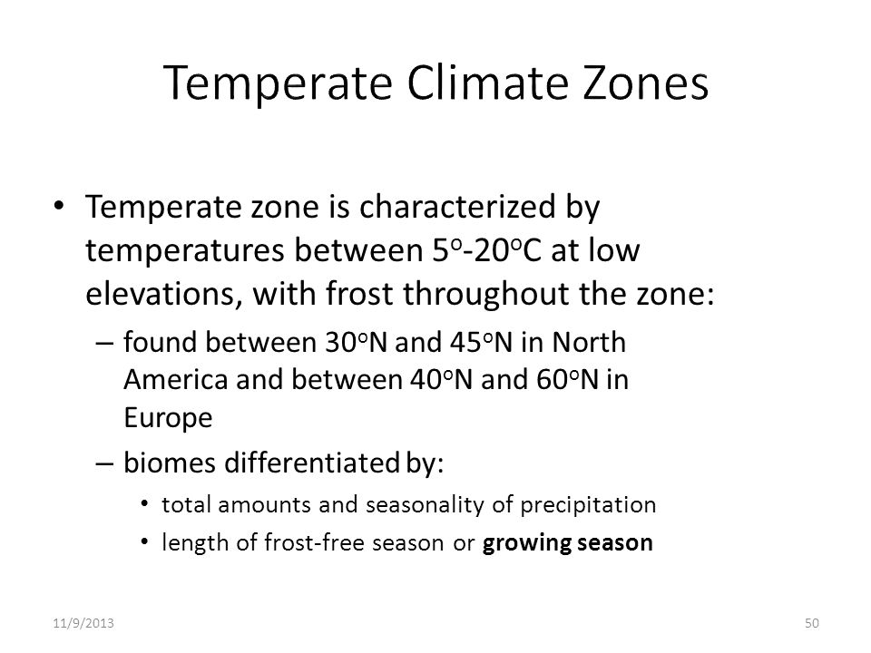 Temperate zone is characterized by temperatures between 5 o -20 o C at low elevations, with frost throughout the zone: – found between 30 o N and 45 o
