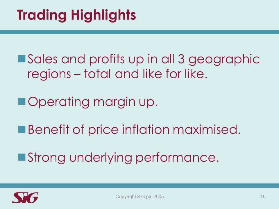 Copyright SIG plc 2005 19 Trading Highlights Sales and profits up in all 3 geographic regions – total and like for like.