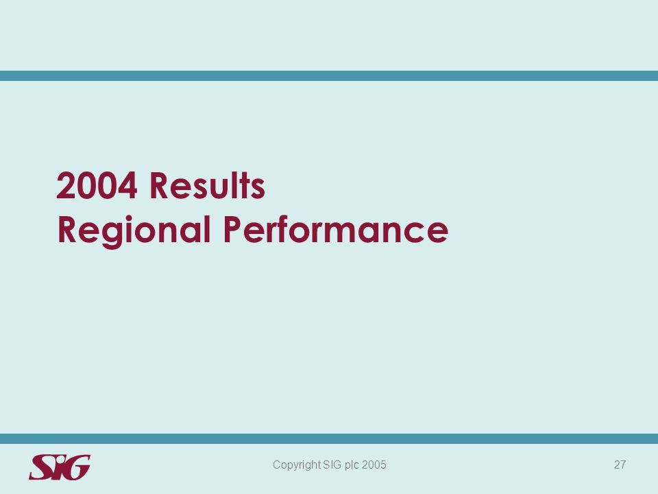 Copyright SIG plc 2005 27 2004 Results Regional Performance