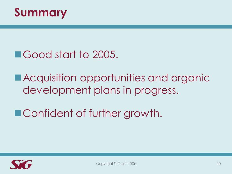 Copyright SIG plc 2005 49 Summary Good start to 2005.