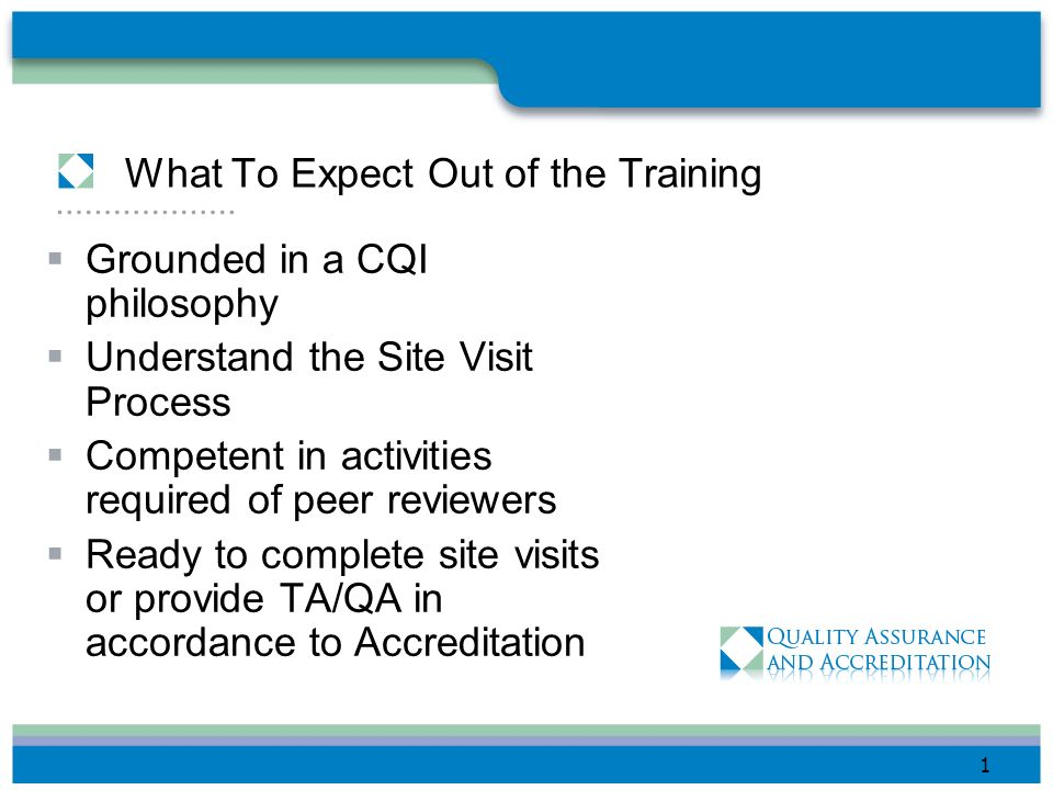 What To Expect Out of the Training Grounded in a CQI philosophy Understand the Site Visit Process Competent in activities required of peer reviewers Ready to complete site visits or provide TA/QA in accordance to Accreditation 1