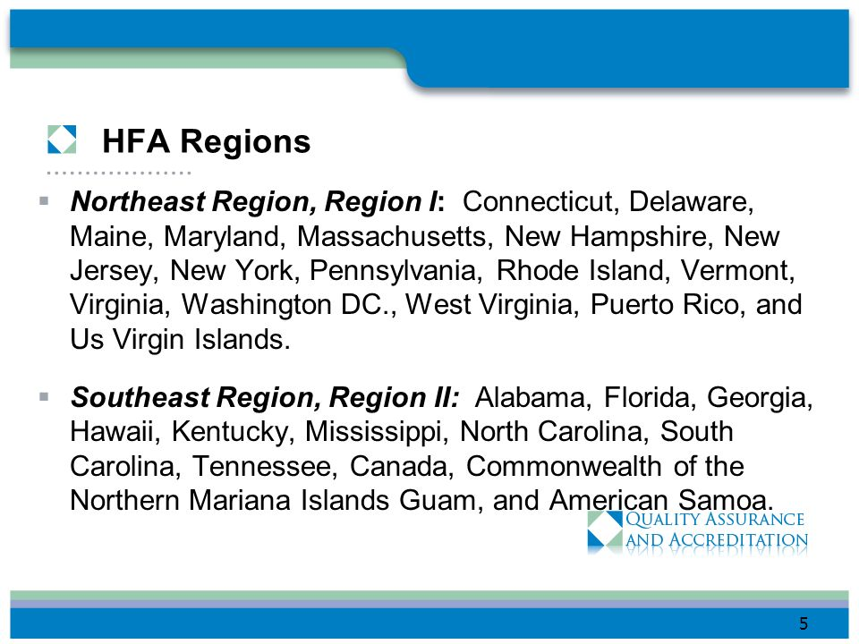 HFA Regions Northeast Region, Region I: Connecticut, Delaware, Maine, Maryland, Massachusetts, New Hampshire, New Jersey, New York, Pennsylvania, Rhode Island, Vermont, Virginia, Washington DC., West Virginia, Puerto Rico, and Us Virgin Islands.