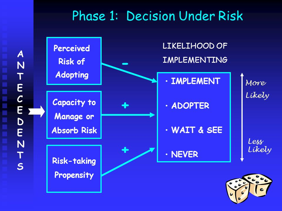 Phase 1: Decision Under Risk IMPLEMENT ADOPTER WAIT & SEE NEVER Perceived Risk of Adopting Capacity to Manage or Absorb Risk Risk-taking Propensity -