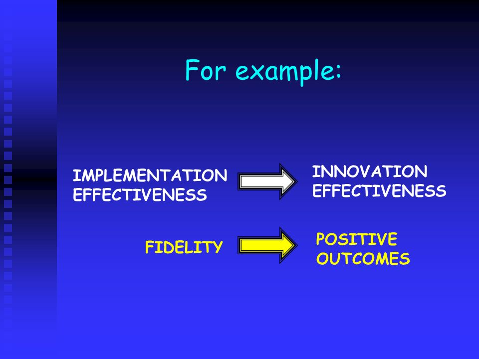 For example: IMPLEMENTATION EFFECTIVENESS INNOVATION EFFECTIVENESS FIDELITY POSITIVE OUTCOMES