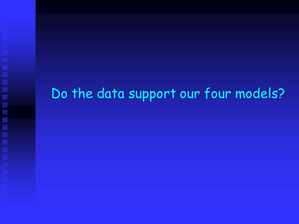 Do the data support our four models?