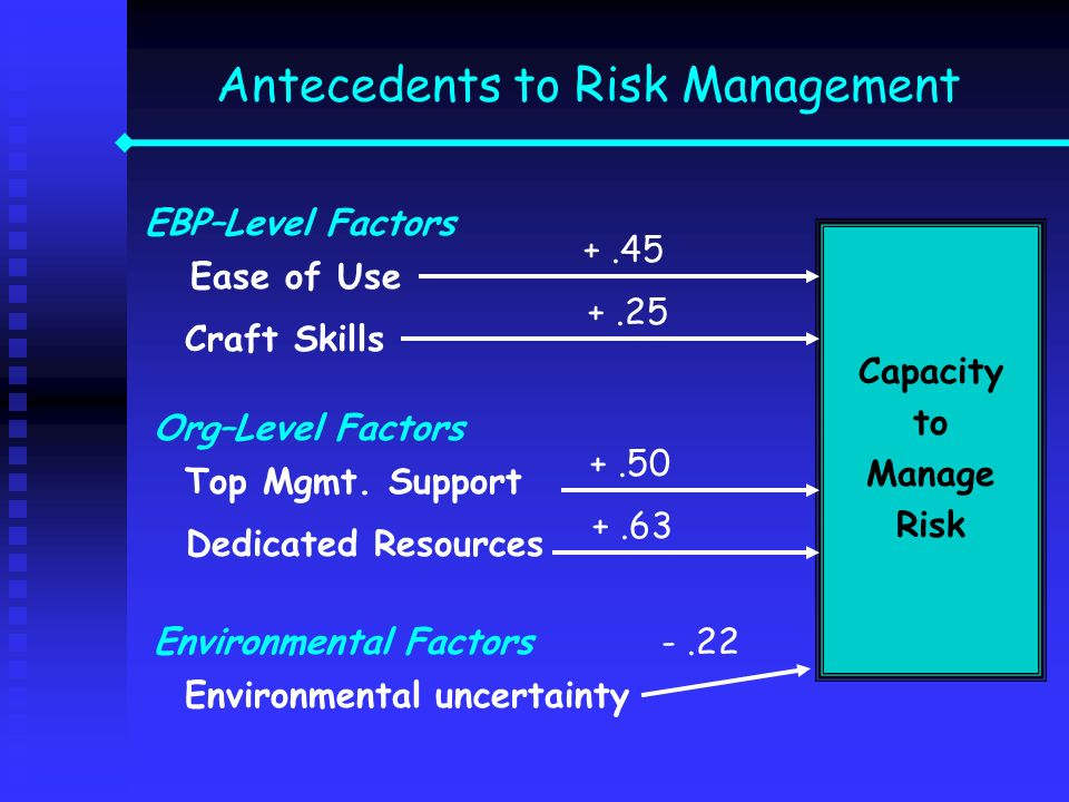 Antecedents to Risk Management Capacity to Manage Risk EBP–Level Factors Ease of Use Org–Level Factors Top Mgmt. Support Environmental Factors Environ