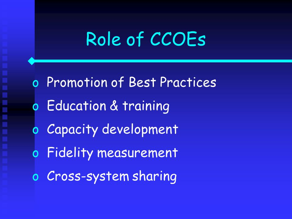 oPromotion of Best Practices oEducation & training oCapacity development oFidelity measurement oCross-system sharing Role of CCOEs