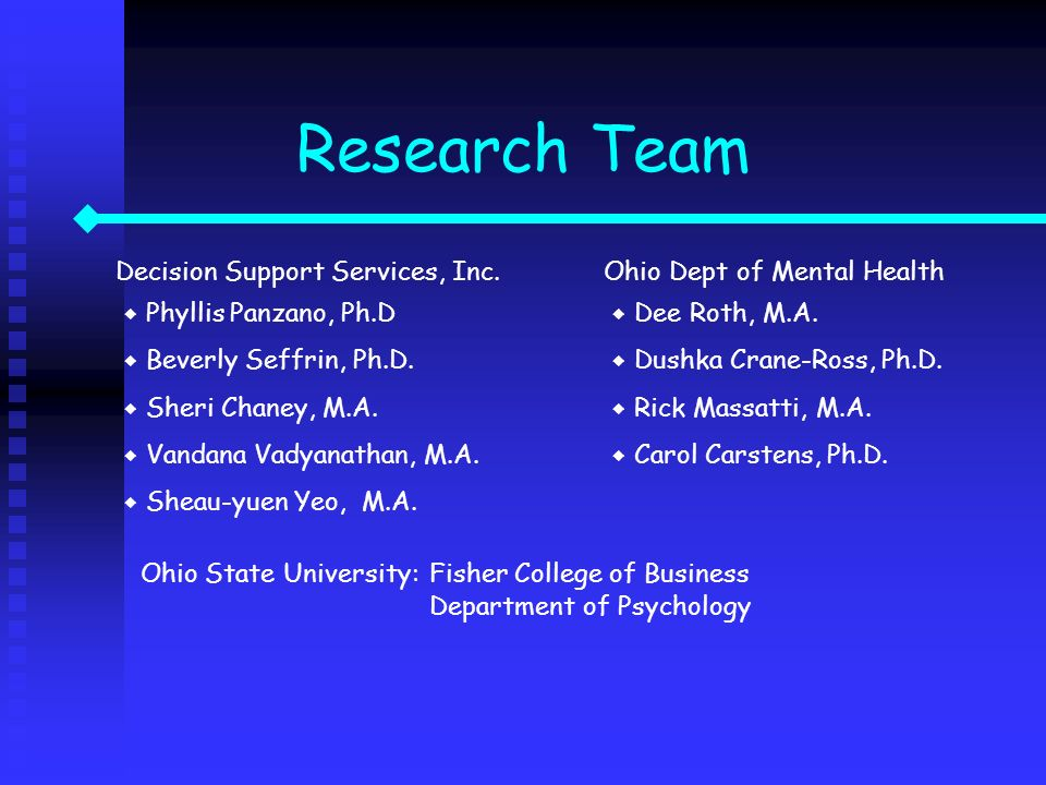 Research Team Decision Support Services, Inc. Phyllis Panzano, Ph.D Beverly Seffrin, Ph.D. Sheri Chaney, M.A. Vandana Vadyanathan, M.A. Sheau-yuen Yeo