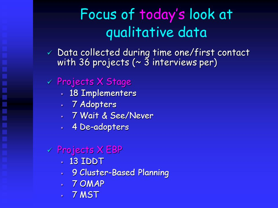 Focus of todays look at qualitative data Data collected during time one/first contact with 36 projects (~ 3 interviews per) Data collected during time