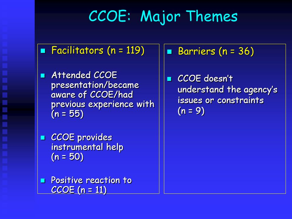 CCOE: Major Themes Facilitators (n = 119) Facilitators (n = 119) Attended CCOE presentation/became aware of CCOE/had previous experience with (n = 55)