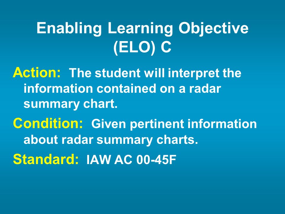 Action: The student will interpret the information contained on a radar summary chart. Condition: Given pertinent information about radar summary char