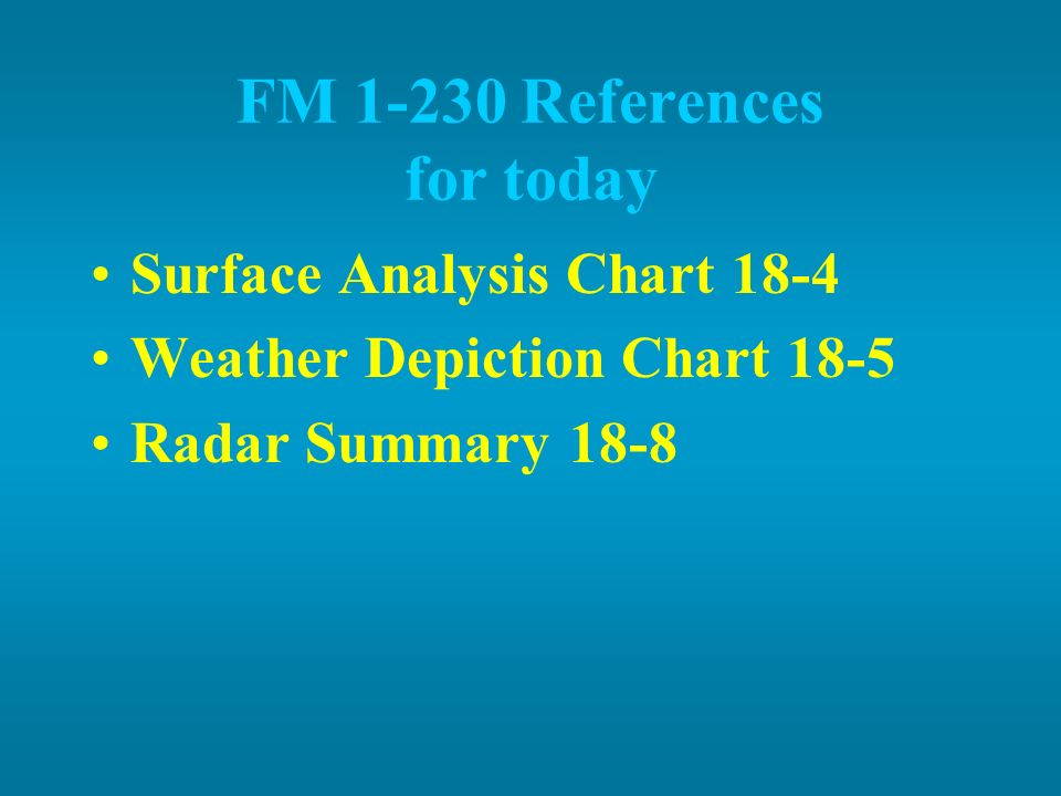 FM 1-230 References for today Surface Analysis Chart 18-4 Weather Depiction Chart 18-5 Radar Summary 18-8