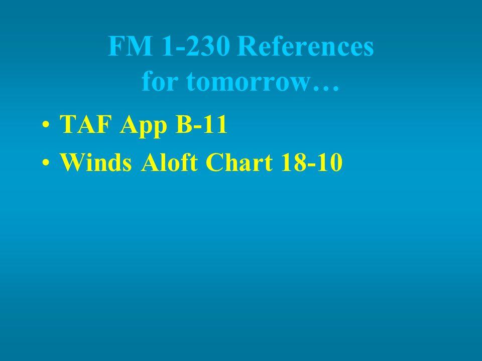 FM 1-230 References for tomorrow… TAF App B-11 Winds Aloft Chart 18-10