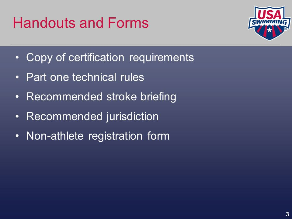 4 S&T Certification Requirements (Summary) Certified as a timer via on-line test Attend training clinic Pass on-line test Must join USA Swimming/NES and display membership card while on deck Complete a minimum of 4 apprentice sessions of at 2 different NES-sanctioned swim meets.