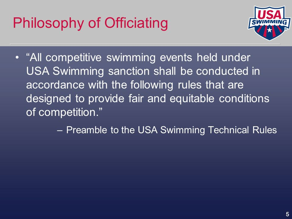 36 Additional Rules (Contd) Any swimmer not entered in a race who enters the pool during ongoing competition shall be barred from their next individual event (excludes dipping goggles/splashing) Grasping lane dividers to assist forward motion is not permitted
