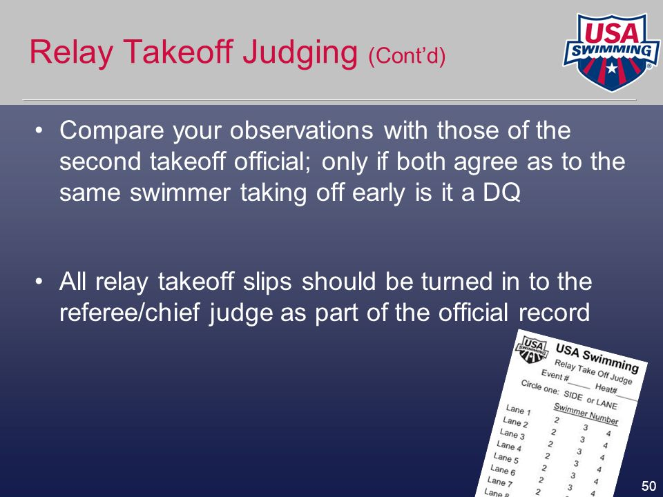 50 Relay Takeoff Judging (Contd) Compare your observations with those of the second takeoff official; only if both agree as to the same swimmer taking