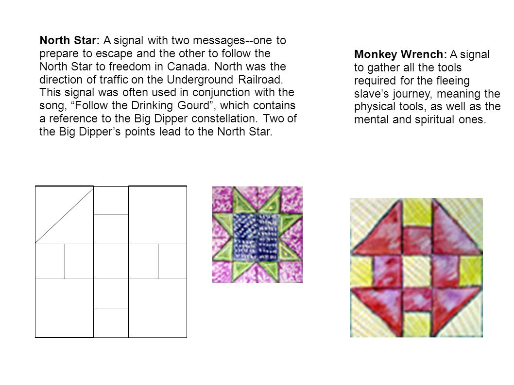 North Star: A signal with two messages--one to prepare to escape and the other to follow the North Star to freedom in Canada. North was the direction