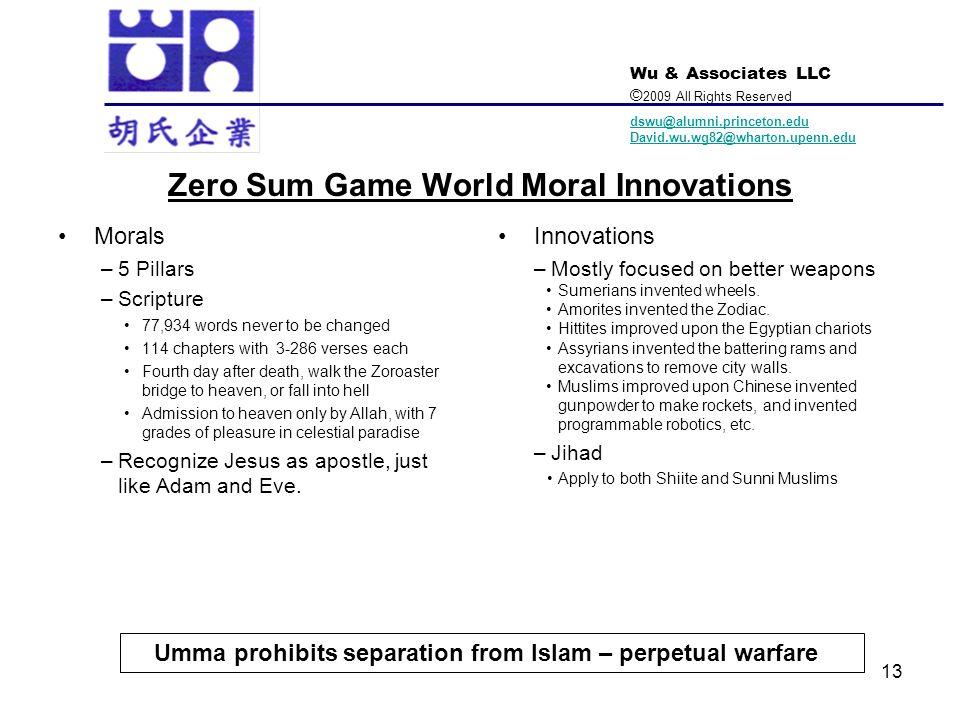 Wu & Associates LLC © 2009 All Rights Reserved dswu@alumni.princeton.edu David.wu.wg82@wharton.upenn.edu 13 Zero Sum Game World Moral Innovations Mora