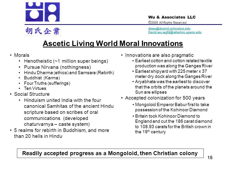 Wu & Associates LLC © 2009 All Rights Reserved dswu@alumni.princeton.edu David.wu.wg82@wharton.upenn.edu 15 Ascetic Living World Moral Innovations Mor