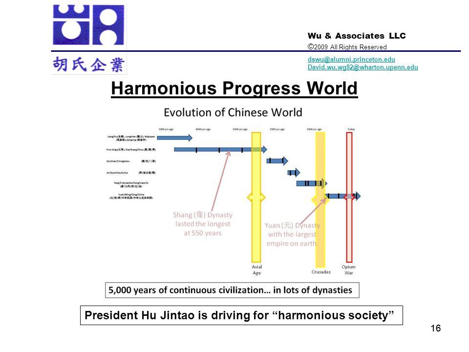 Wu & Associates LLC © 2009 All Rights Reserved dswu@alumni.princeton.edu David.wu.wg82@wharton.upenn.edu 16 President Hu Jintao is driving for harmoni