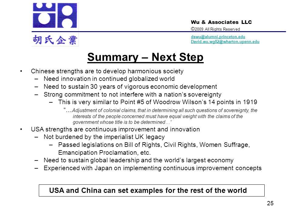Wu & Associates LLC © 2009 All Rights Reserved dswu@alumni.princeton.edu David.wu.wg82@wharton.upenn.edu 25 Summary – Next Step Chinese strengths are
