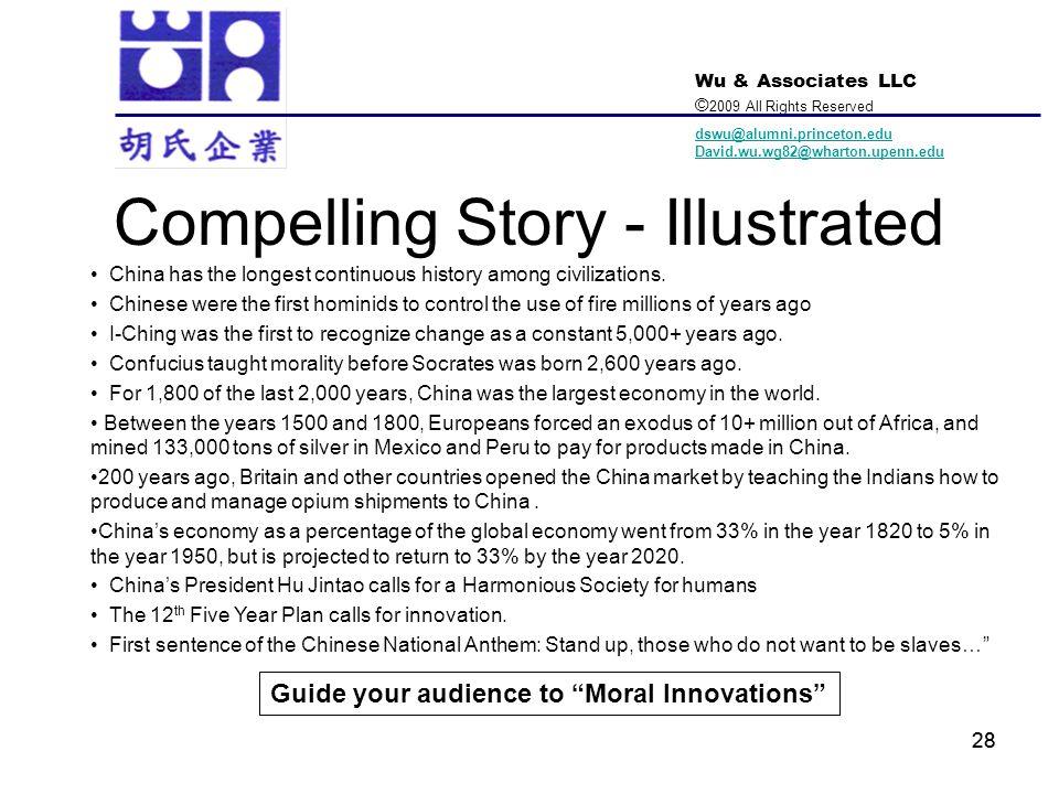 Wu & Associates LLC © 2009 All Rights Reserved dswu@alumni.princeton.edu David.wu.wg82@wharton.upenn.edu 28 Compelling Story - Illustrated China has t