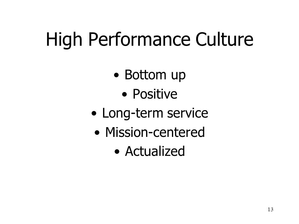 13 High Performance Culture Bottom up Positive Long-term service Mission-centered Actualized