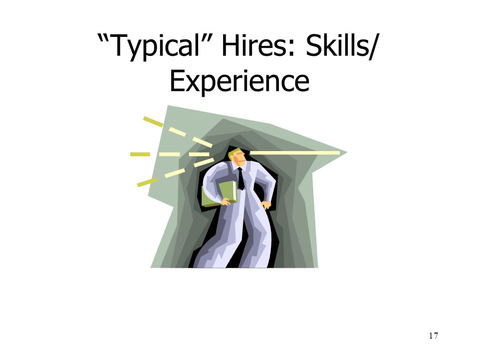 17 Typical Hires: Skills/ Experience