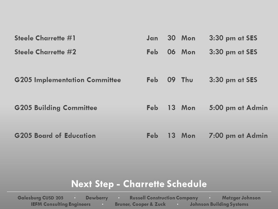 Galesburg C USD 205 · Dewberry · Russell Construction Company · Metzger Johnson IEFM Consulting Engineers · Bruner, Cooper & Zuck · Johnson Building Systems Next Step - Charrette Schedule Steele Charrette #1Jan30Mon3:30 pm at SES Steele Charrette #2Feb06Mon3:30 pm at SES G205 Implementation CommitteeFeb 09Thu3:30 pm at SES G205 Building CommitteeFeb13Mon5:00 pm at Admin G205 Board of EducationFeb13Mon7:00 pm at Admin Galesburg C USD 205 · Dewberry · Russell Construction Company · Metzger Johnson IEFM Consulting Engineers · Bruner, Cooper & Zuck · Johnson Building Systems