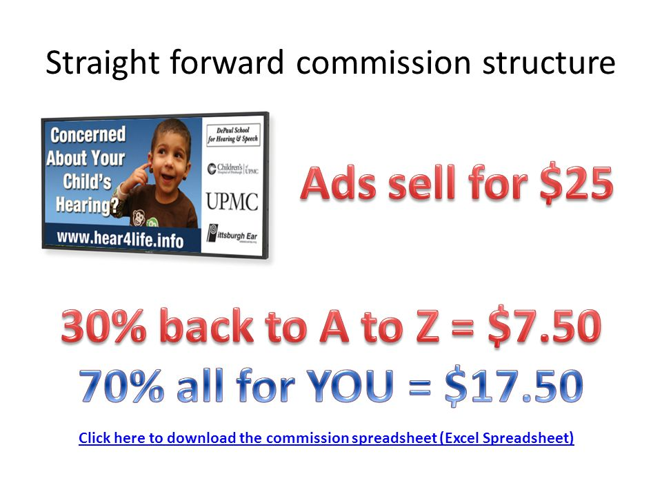 Straight forward commission structure Click here to download the commission spreadsheet (Excel Spreadsheet)