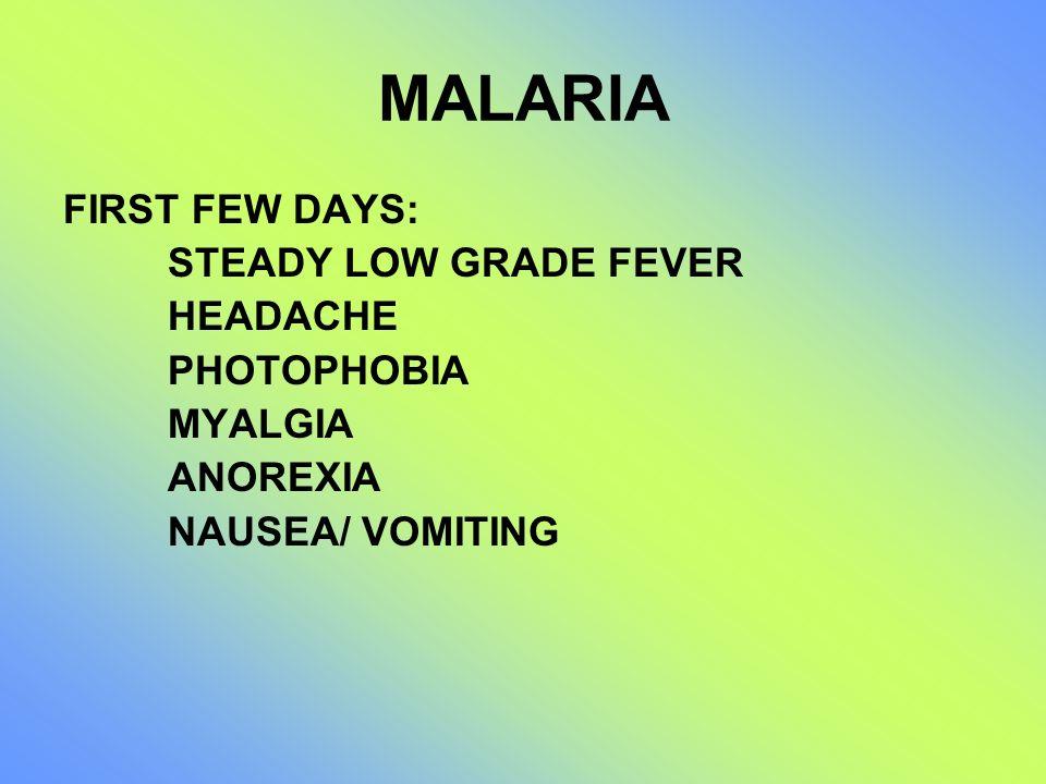 MALARIA FIRST FEW DAYS: STEADY LOW GRADE FEVER HEADACHE PHOTOPHOBIA MYALGIA ANOREXIA NAUSEA/ VOMITING