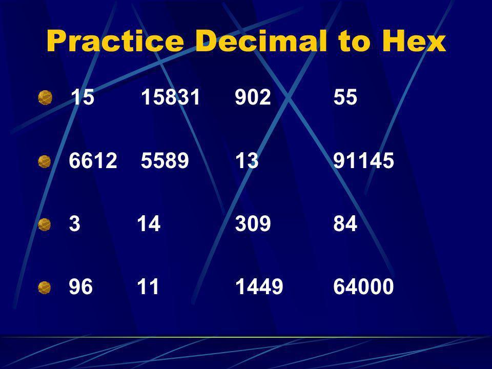 Practice Decimal to Hex 15 15831 90255 6612 55891391145 31430984 9611144964000