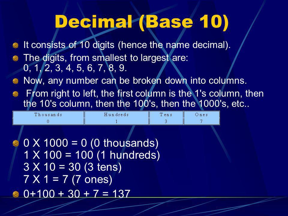 Decimal (Base 10) It consists of 10 digits (hence the name decimal). The digits, from smallest to largest are: 0, 1, 2, 3, 4, 5, 6, 7, 8, 9. Now, any