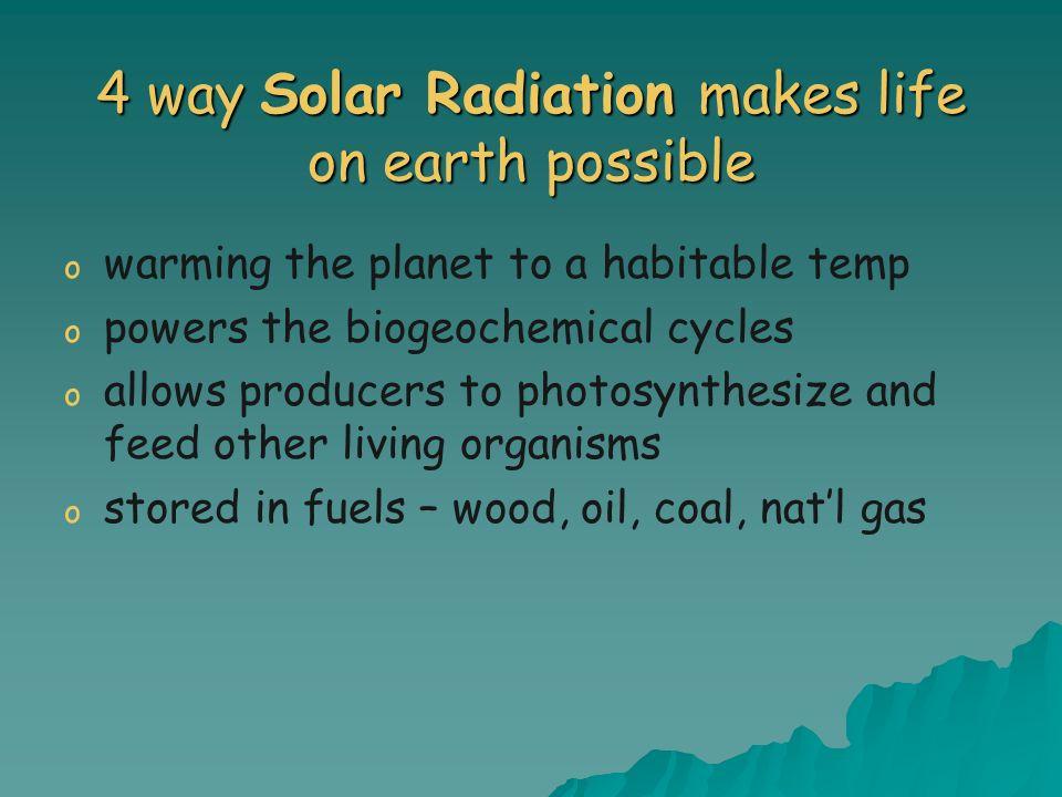 4 way Solar Radiation makes life on earth possible o o warming the planet to a habitable temp o o powers the biogeochemical cycles o o allows producer