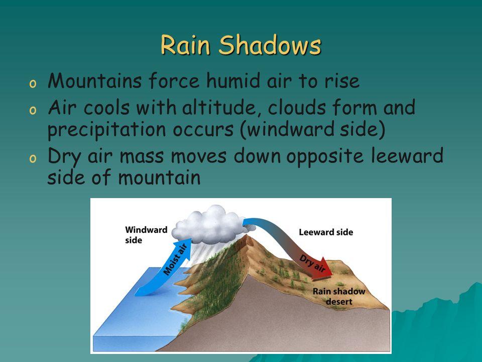 Rain Shadows o o Mountains force humid air to rise o o Air cools with altitude, clouds form and precipitation occurs (windward side) o o Dry air mass