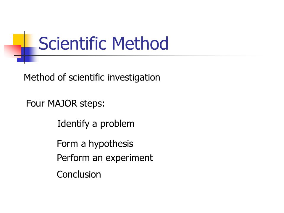 Scientific Method Method of scientific investigation Four MAJOR steps: Identify a problem Form a hypothesis Perform an experiment Conclusion